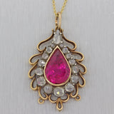 1880s Antique Victorian 14k Gold Pear Pink Tourmaline Diamond Pendant Necklace N8
