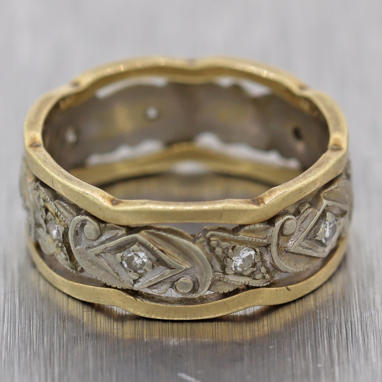 1880's Antique Victorian 14k Yellow & White Gold 0.15ctw Diamond Band Ring