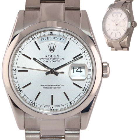 MINT Rolex 118209 President Day Date 36mm Silver Stick 18k White Gold 118239