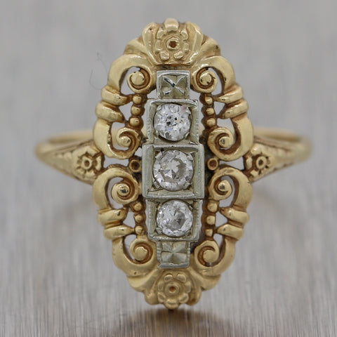 1920's Antique Art Deco 14k Yellow & White Gold 0.25ctw Diamond Ring