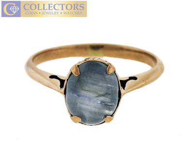 Ladies Antique Art Deco Estate 14K Yellow Gold Blue Moonstone Cabochon Ring