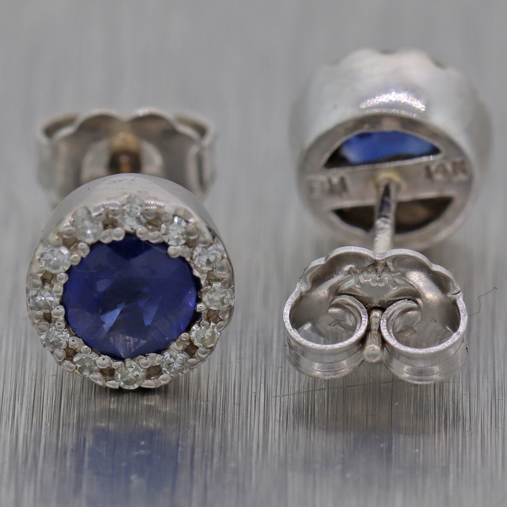 EFFY Solid 14k White Gold .58ctw Sapphire Diamond Halo Stud Earrings N8