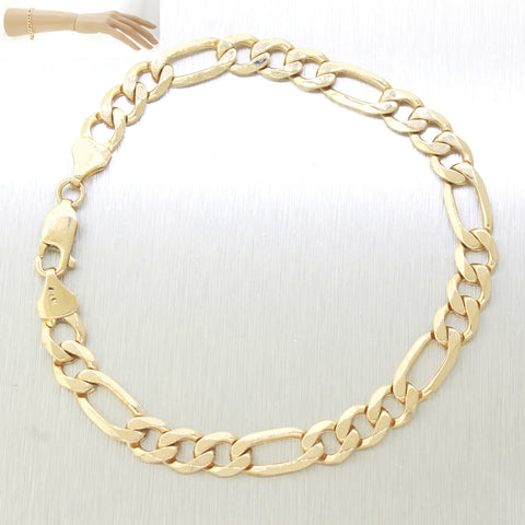 "Men's Modern 14k Solid Yellow Gold 8.25"" 14.6g Figaro Link Chain Bracelet"