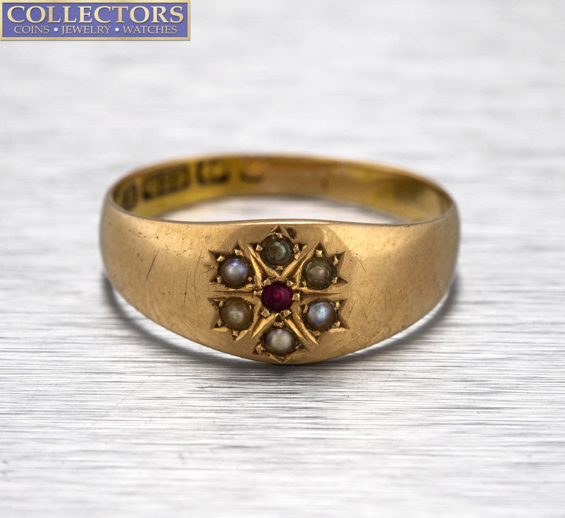 Ladies Antique Estate 15K 625 Yellow Gold Pink Sapphire Seed Pearl Cocktail Ring