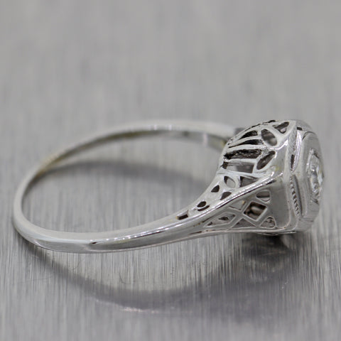 1930's Antique Art Deco 14k White Gold 0.15ctw Diamond Filigree Ring