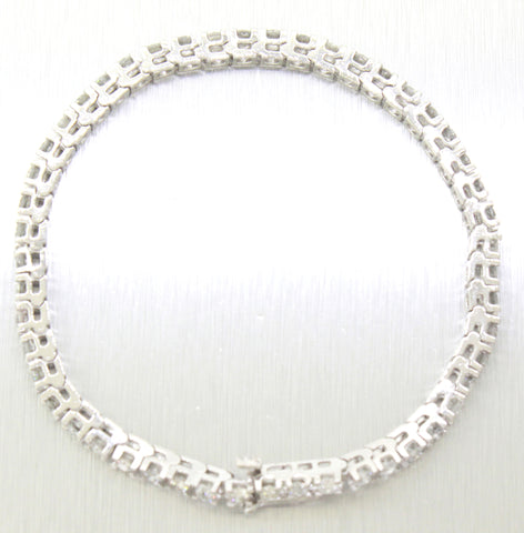 Vintage Estate 14k Solid White Gold 5.00ctw~ Round Diamond Tennis Bracelet