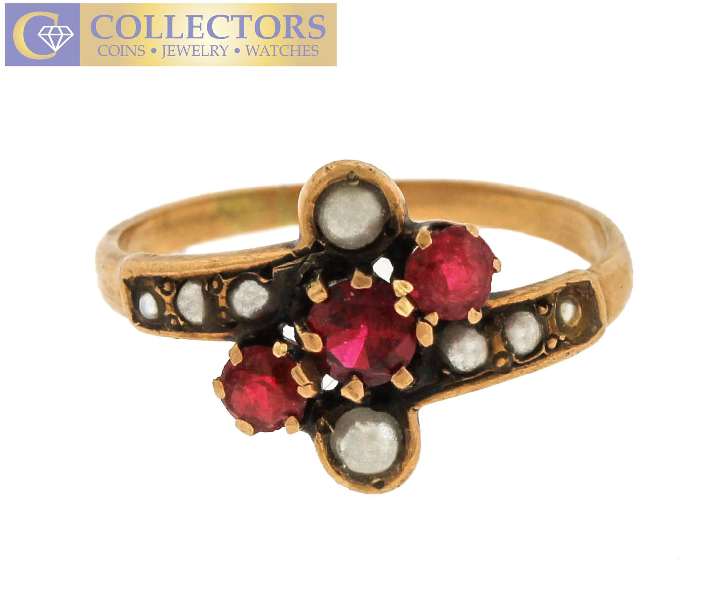 Lovely Ladies Antique Estate 14K Yellow Gold Pink Tourmaline Seed Pearl Ring