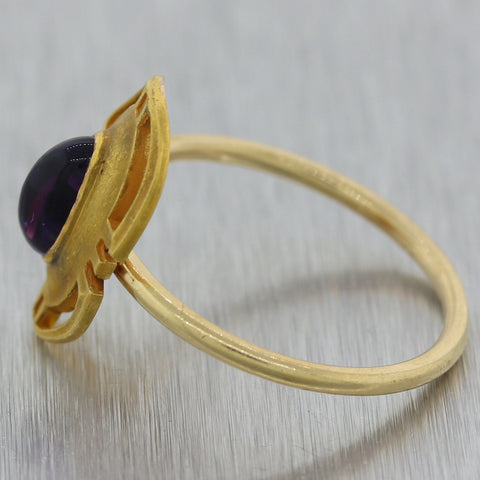 1915 Antique Art Nouveau 14k Yellow Gold Amethytst Ring