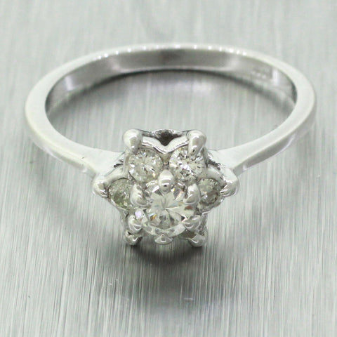 Vintage Estate 14k Solid White Gold 0.50ctw~ Diamond Floral Cocktail Ring