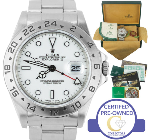 1998 Rolex Explorer II 16570 Stainless Polar White Swiss Date GMT 40mm Watch