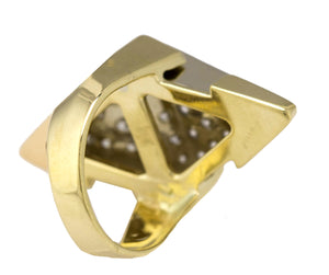 Ladies Modernist 14K Yellow Gold 1.52ctw Diamond Geometric Unique Cocktail Ring