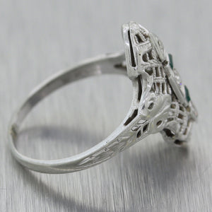 1930's Antique Art Deco 18k White Gold 0.14ctw Emerald & Diamond Ring