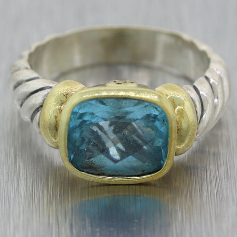 David Yurman Sterling Silver & 14k Yellow Gold Blue Topaz Ring