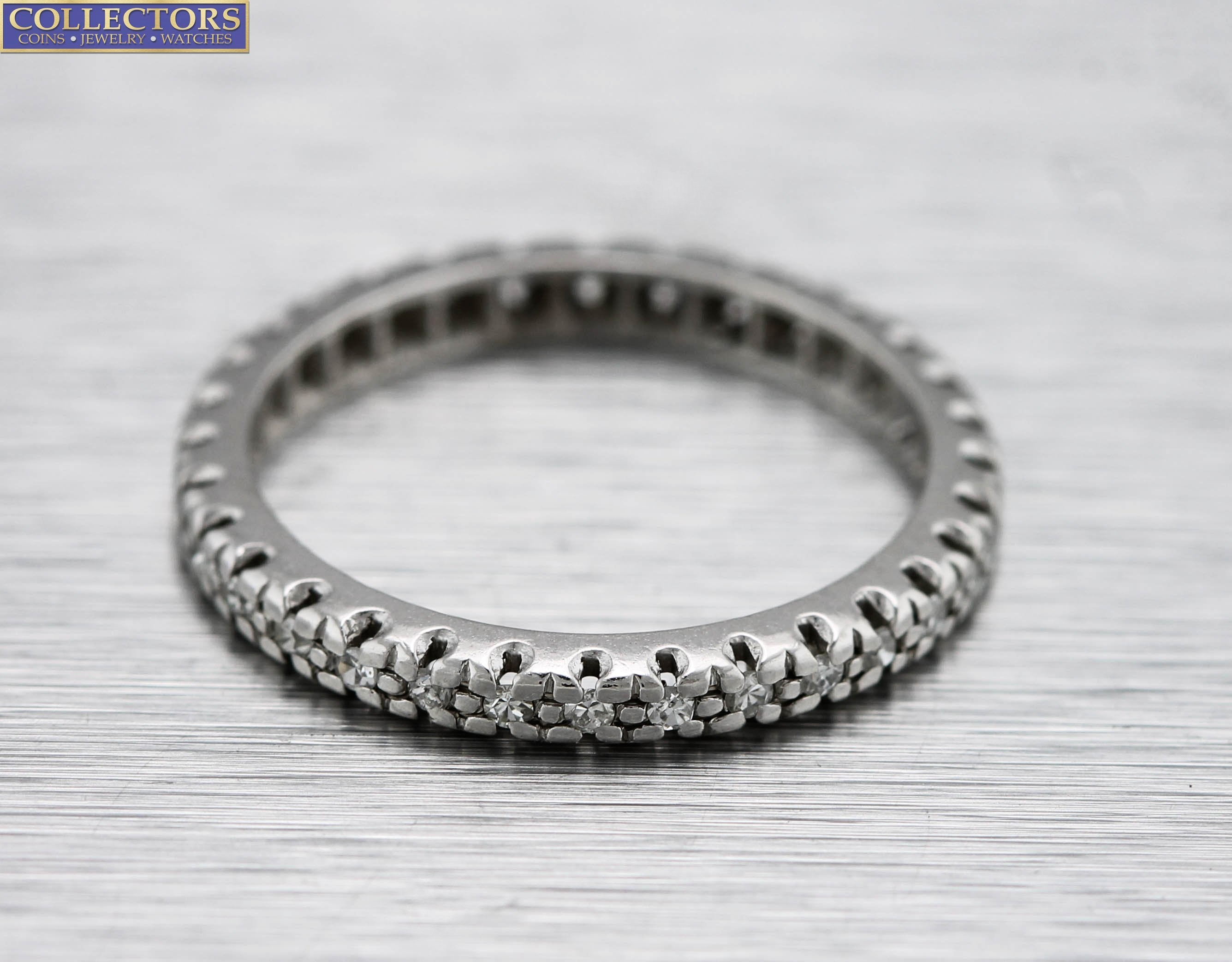 Ladies 14K White Gold 0.16ctw Diamond Eternity Wedding Band Stackable Ring