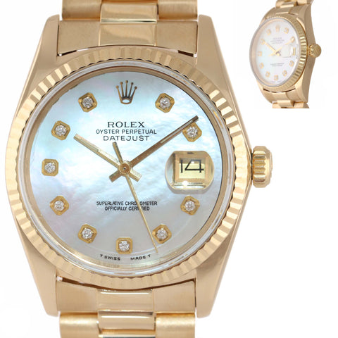 MINT Rolex DateJust 36mm 16018 18K Yellow Gold MOP Diamond President Watch 16018