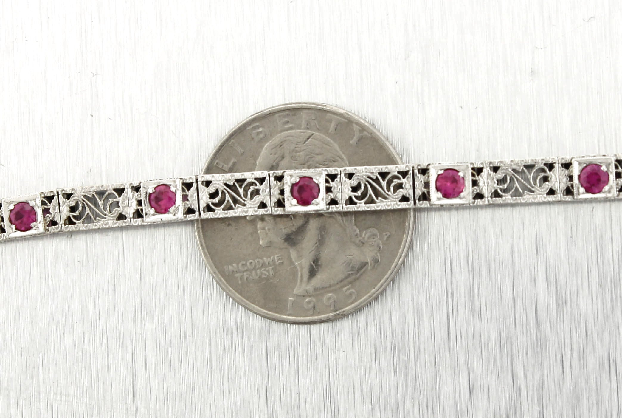 Ladies Vintage Estate Filigree 14K White Gold Pink Sapphire Bracelet