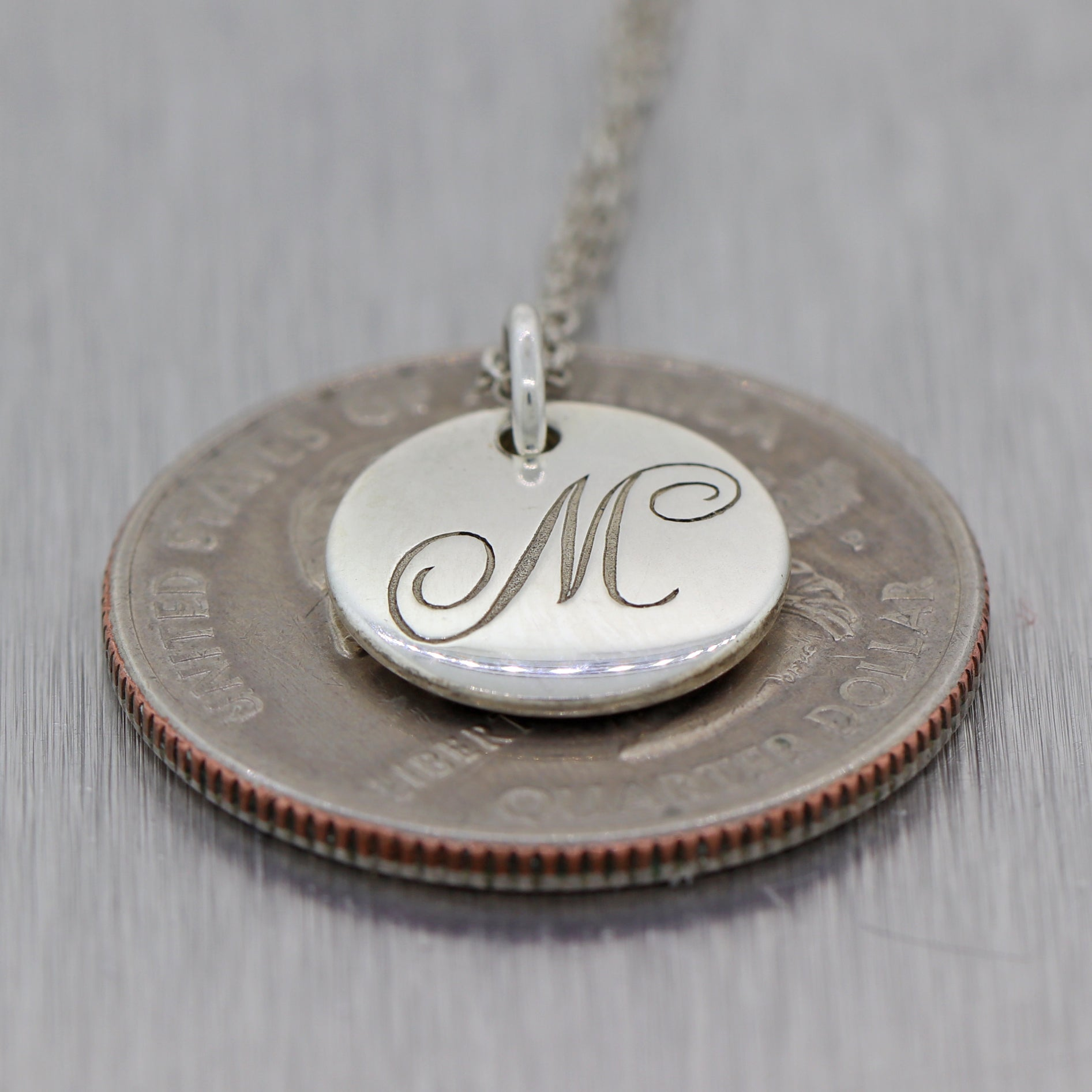 "Tiffany & Co. Sterling Silver ""M"" Alphabet 18"" Necklace"