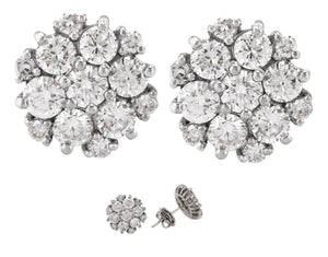 Exquisite Ladies 14K White Gold 2.46ctw Diamond Flower Cluster Stud Earrings