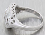 1920s Antique Art Deco 14k White Gold .15ctw Diamond 10mm Wide Cocktail Ring S8
