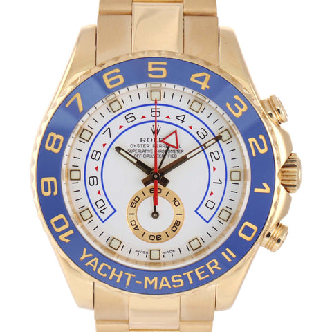 MINT Men's Rolex Yacht-Master II 18K Yellow Gold Blue 116688 44mm Watch Box