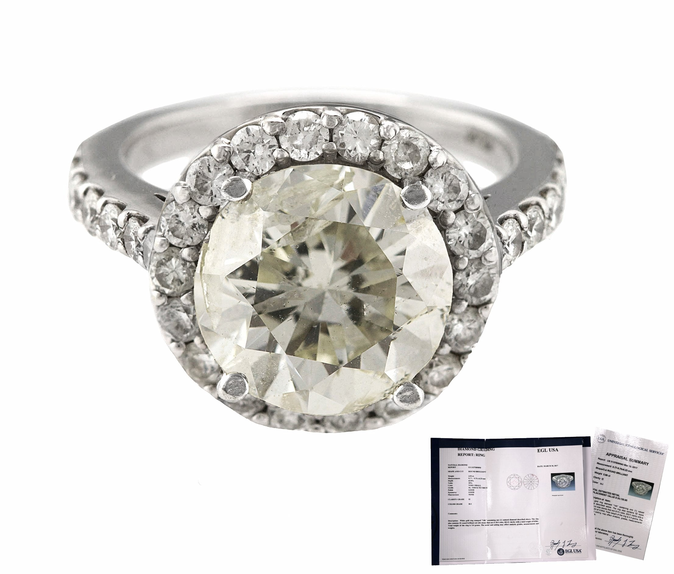Ladies 14K White Gold 3.95 CT H-I I2 Round Brilliant Diamond Engagement Ring EGL