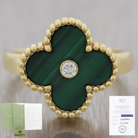 Van Cleef & Arpels 18k Yellow Gold Diamond & Malachite Alhambra Ring