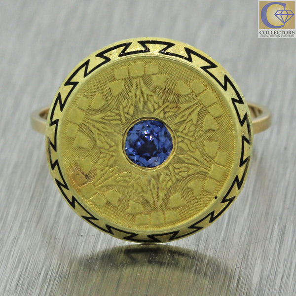 1920s Antique Art Deco 14k Solid Yellow Gold .10ct Blue Sapphire Shield Ring