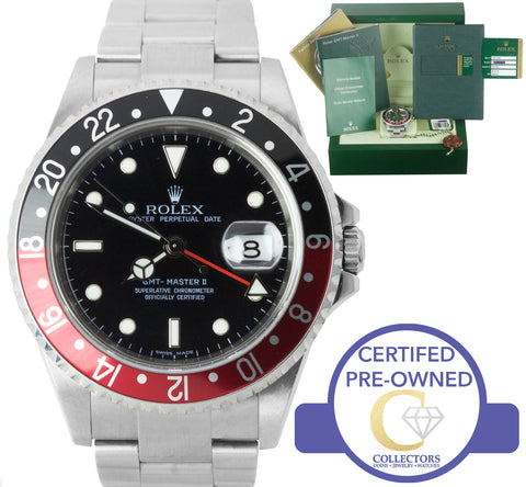 UNPOLISHED 2008 Rolex GMT-Master II 16710 Z Coke RECTANGULAR DIAL 40mm Watch