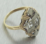 Antique Art Deco 14k Solid Yellow & White Gold 1941 Class Ring