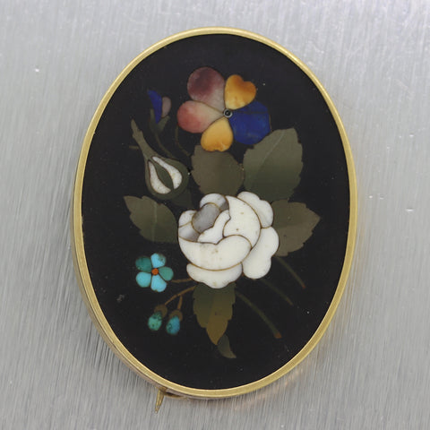 Antique Vintage Estate 14k Yellow Gold Pietra Dura Brooch Pin
