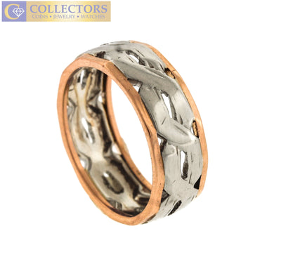 Ladies Vintage Estate 14K White Rose Gold Two-Tone Fancy Band Ring