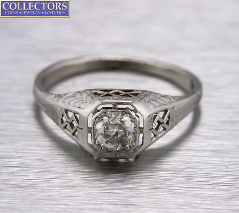 Antique Art Deco 14K White Gold .50ctw Old Mine Diamond Filigree Engagement Ring