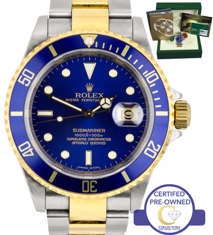 2008 Rolex Submariner UNPOLISHED M-SERIAL 16613 Two-Tone Gold Blue 40mm Watch