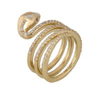 Ladies Modern 14K Yellow Gold 1.33ctw Diamond Snake Serpent Coil Statement Ring