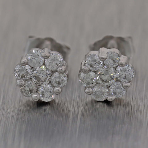 Ladies Solid 14k White Gold .72ctw Diamond Cluster 7mm Stud Earrings