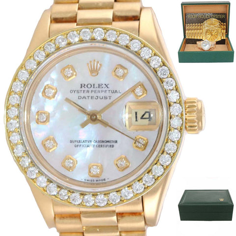 Ladies Rolex President 26mm MOP Diamond Bezel 69178 18k Yellow Gold Watch