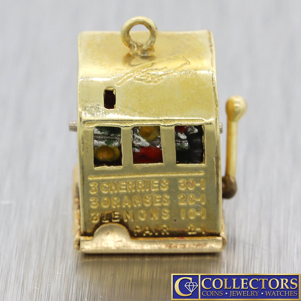 Antique Vintage Estate 14k Yellow Gold Slot Machine Casino Fob Charm Pendant S8