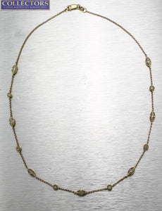 "Ladies Estate 14K 585 Yellow Gold 0.26ctw Diamond Station Chain 14.50"" Necklace"