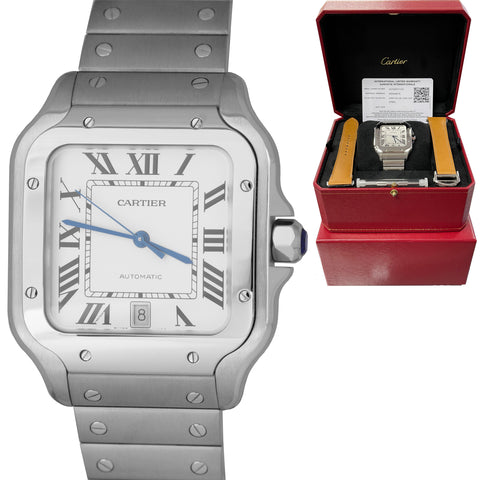 NEW 2020 Cartier Santos 42mm Automatic Stainless Steel White 4072 Watch WSSA0018