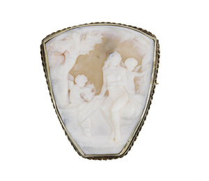 Antique 14K Yellow Gold Carnelian Carved Cameo Woman Cherub Brooch Pin 21.2gr