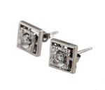 Ladies Vintage Estate 14K White Gold 0.20ctw Diamond Square Stud Earrings