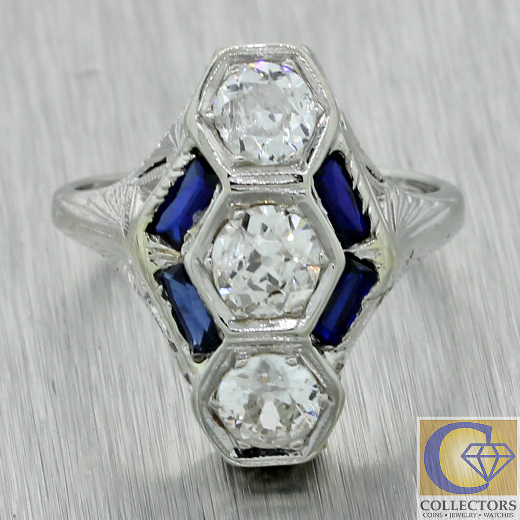 1930s Antique Art Deco 20k White Gold 1.60ctw Diamond Sapphire Engagement Ring