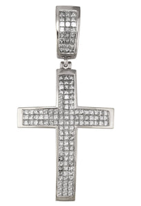 Men's Large 14K White Gold 4.38ctw Princess Cut Diamond Cross Crucifix Pendant