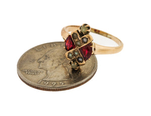Ladies Antique Victorian Estate 14K Yellow Gold Seed Pearl Pink Tourmaline Ring