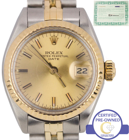 Ladies Rolex Date 26mm Champagne 6917 18K Two-Tone Gold Watch DateJust 69173