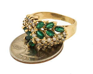 Vintage Estate 14K Yellow Gold 1.91ctw Emerald Diamond Cocktail Cluster Ring