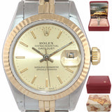 2019 SERVICED Ladies Rolex 67193 Two Tone 18k Gold 26mm champagne Watch