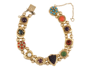 Women's Vintage Estate 14k Yellow Gold Cabochon Gemstone Slide Charm Bracelet