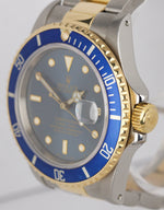Vintage Rolex Submariner 16803 Two-Tone Gold Steel Tropical Blue 40mm Date Watch