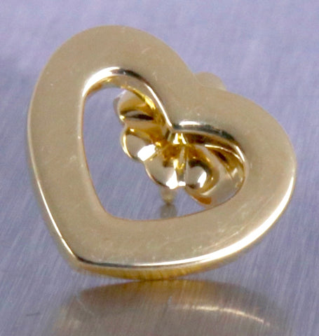 Ladies Genuine Tiffany & Co. 18K 750 Yellow Gold Italy Open Heart Stud Earrings